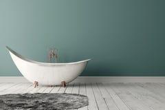 Banheiro com tapete, o assoalho de madeira e a parede áspera Imagem de Stock Royalty Free