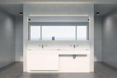 Banheiro concreto, dissipador branco Fotos de Stock Royalty Free