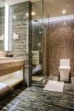 Banheiro de cinco estrelas do ensuite luxuoso imagem de stock
