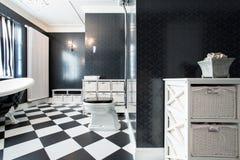 Banheiro elegante, preto e branco Imagens de Stock Royalty Free