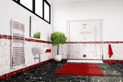 Banheiro em vermelho, no branco e no preto Foto de Stock Royalty Free