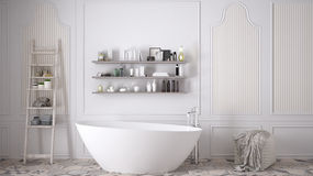 Banheiro escandinavo, design de interiores branco clássico do vintage imagem de stock royalty free