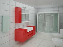Banheiro espaçoso branco Ilustração Royalty Free
