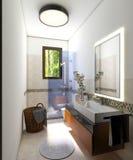 Banheiro interior moderno com cabine do chuveiro Imagens de Stock Royalty Free