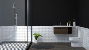 Banheiro interior moderno, toalete, chuveiro, ilustração do projeto 3D da casa para o banheiro branco da telha do fundo do espaço ilustração stock