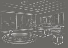 Banheiro linear arquitetónico do esboço no fundo cinzento Fotografia de Stock Royalty Free