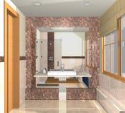 Banheiro luxuoso com dissipador e grande espelho no marb Imagens de Stock Royalty Free