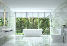 Banheiro luxuoso moderno com imagem da rendição da opinião 3d da natureza Fotografia de Stock Royalty Free