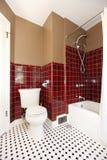 Banheiro marrom e vermelho antigo clássico. Fotografia de Stock Royalty Free