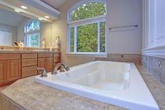 Banheiro mestre impressionante com o armário dobro da vaidade imagem de stock royalty free