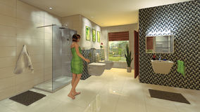 Banheiro moderno com parede do mosaico Imagem de Stock Royalty Free