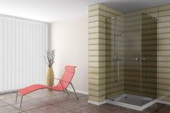 Banheiro moderno com sofá vermelho Imagens de Stock Royalty Free