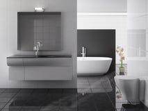 Banheiro moderno que inclui o banho e o dissipador imagem de stock