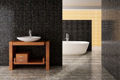 Banheiro moderno que inclui o banho e o dissipador Foto de Stock Royalty Free
