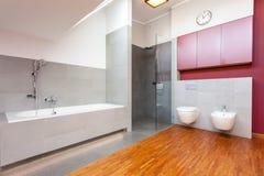 Banheiro moderno vermelho e cinzento Foto de Stock Royalty Free