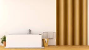 Banheiro na rendição de madeira do projeto -3D Imagens de Stock Royalty Free