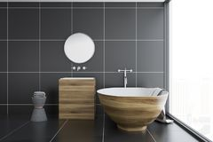 Banheiro preto da telha, cuba de madeira e dissipador, lado Imagem de Stock Royalty Free