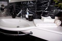 Banheiro preto e branco Fotografia de Stock