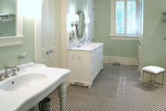 Banheiro preto e branco luxuoso Fotografia de Stock Royalty Free