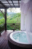 Banheiro privada com um véu branco foto de stock royalty free