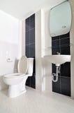 Banheiro simples pequeno com dissipador e toalete Imagens de Stock Royalty Free