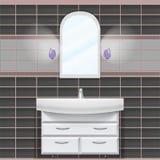 Banheiro Uma parede com um espelho e um dissipador imagem de stock