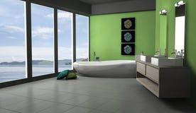 Banheiro verde Lakeview Foto de Stock Royalty Free