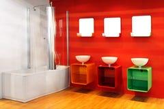 Banheiro vermelho Fotografia de Stock Royalty Free
