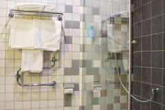 Banheiros com chuveiro no hotel Imagem de Stock