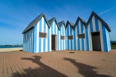 Banheiros na praia de Baiona - Espanha fotografia de stock royalty free