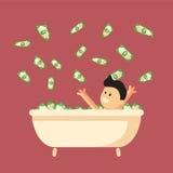 Banho completamente do dinheiro com o homem feliz nele Fotos de Stock Royalty Free