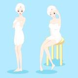Banho da tomada da mulher ilustração royalty free