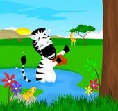 Banho da zebra Imagem de Stock Royalty Free