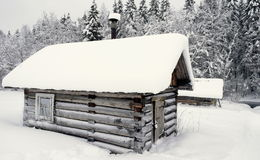 Banho de madeira na floresta do inverno Fotografia de Stock