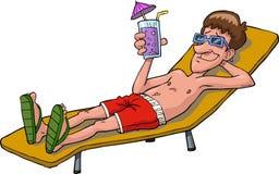Banho de sol do homem ilustração stock