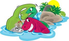 Banho dos dinossauros Foto de Stock