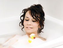 Banho e pato Fotos de Stock Royalty Free