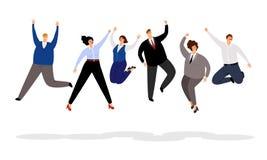 Banhoppningaffärsfolk Vinnande illustration för lyckligt kontorsfolk, glat och le tecknad filmaffärsmän och royaltyfri illustrationer