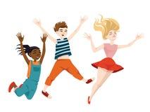Banhoppningbarn i tecknad filmstil Royaltyfri Fotografi