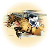 Banhoppninghäst och jockey royaltyfri illustrationer