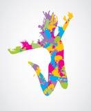 Banhoppningkvinna royaltyfri illustrationer