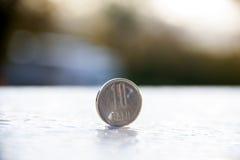 10 bani罗马尼亚人硬币 免版税库存照片