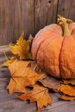 Bania i jesień liście nad starym drewnianym tłem zdjęcie stock