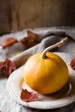 Bania na talerzu jesienią zbliżenie kolor tła ivy pomarańczową czerwień liści Obraz Stock