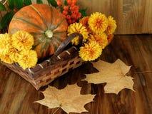Bania w łozinowym koszu z kwiatami, rowan i suszy liście Obraz Stock