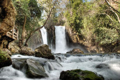 Banias waterfalls israel stock image