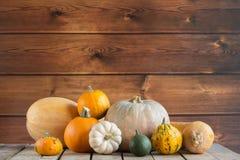 Banie na drewnianym tle, kopii przestrzeń dla teksta Halloween, dziękczynienie dzień lub sezonowy jesienny, horyzontalny obraz royalty free