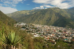 Banios view,Ecuador. The small resort in Ecuador Andes - Mecca for hikers and climbers Stock Image