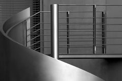 Banister. Metal banister of an outsid staircase stock photos
