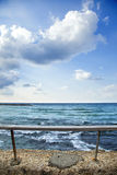 Sea Behind Banister Royalty Free Stock Photos